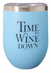 INSULATED KEEP CUP BLUE - TIME TO WINE DOWN