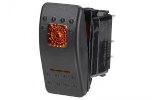 NARVA ILLUMINATED OFF/ON SEALED ROCKER SWITCH AMBER 20A AT 12V ONLY