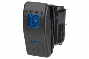 NARVA ILLUMINATED OFF/MOMENTARY (ON) SEALED ROCKER SWITCH BLUE - 20A AT 12V ONLY