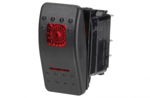 NARVA ILLUMINATED OFF/MOMENTARY (ON) SEALED ROCKER SWITCH RED 20A AT 12V ONLY
