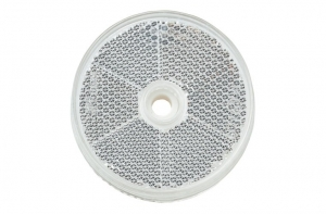 NARVA RETRO REFLECTOR CLEAR CENTRAL FIXING HOLE - 60MM ROUND 2 PACK