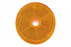 NARVA RETRO REFLECTOR AMBER CENTRAL FIXING HOLE - 60MM ROUND 2 PACK