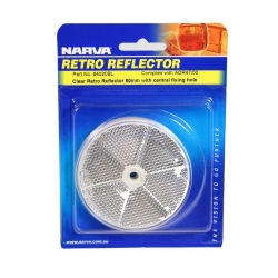 NARVA REFLECTOR CLEAR 80MM WITH CENTRAL FIXING HOLE - TWIN PACK
