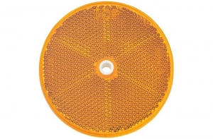 NARVA REFLECTOR AMBER 80MM WITH CENTRAL FIXING HOLE - TWIN PACK