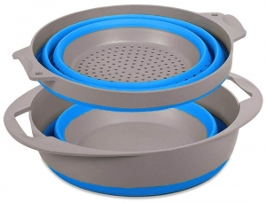 POPUP BOWL AND COLANDER SET BLUE