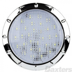 BAXTERS 12V LED INTERIOR LAMP ROUND RECESSED 100M - CHROME