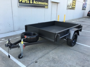 "TRAILER 7' X 4' X12"" SIDES WITH C/PLATE FLOOR LED LIGHTS J/WHEEL & SPARE"