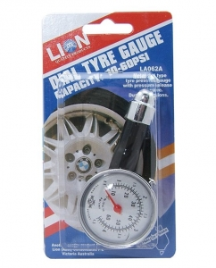 TYRE GAUGE, DIAL TYPE, METAL HOUSING