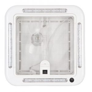 FINCH 12V SHOWER HATCH/FAN 320 X 320MM OPAQUE DOME WITH LED