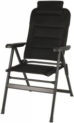 BLACK FOLDING CAMPING CHAIR WITH REMOVEABLE PILLOW
