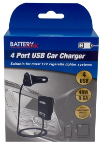 BATTERY LINK 4 PORT USB CAR CHARGER WITH BACK SEAT EXTENSION