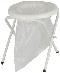 PORTABLE TOILET WITH FOLDING FRAME WITH 6 BAGS